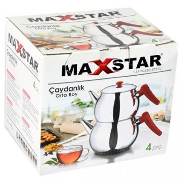Maxstar Çelik Orta Boy Çaydanlık Seti