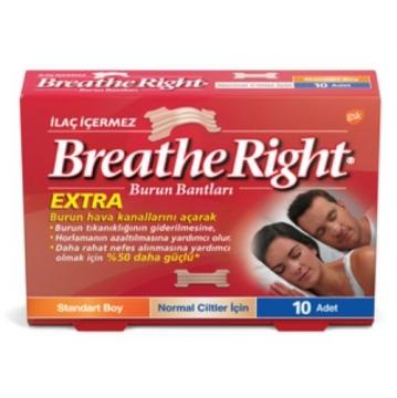 Breathe Right Extra Burun Bantları Standart Boy Normal Ciltler İçin 10 Adet