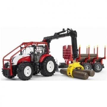 Bruder Steyr CVT-6230 Forestry Römorklu Tomruk Taşıyan Traktör