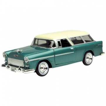 Motor Max Chevy Bel Air Normad 1955 Model Metal Araba Yeşil 1:24