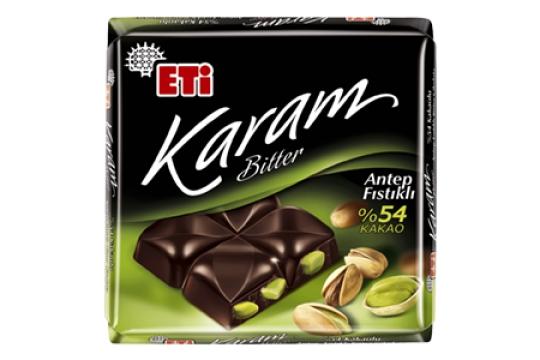Eti Karam Bitter %54 Kakaolu Antep Fıstıklı Tablet Çikolata 70 g