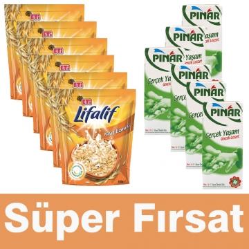 Eti Lifalif Yulaf Ezmesi 6 Adet 500gr  + Pınar Süt 1lt x 6