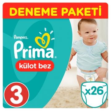 Prima Külot Bebek Bezi Deneme Paketi 3 Beden 26 Adet