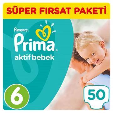 Prima Bebek Bezi Aktif Bebek Süper Fırsat Paketi 6 Beden 50 Adet