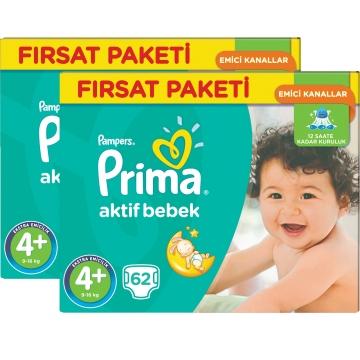 Prima Bebek Bezi Aktif Bebek Fırsat Paketi 4+ Beden 124 Adet