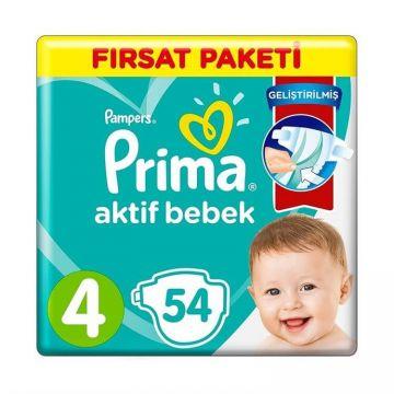 Prima Bebek Bezi Aktif Bebek Fırsat Paketi 4 Beden 54 Adet