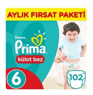 Prima Külot Bebek Bezi Aylık Paket 6 Beden 102 Adet