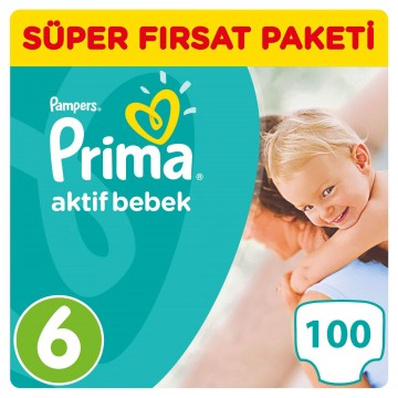 Prima Bebek Bezi Aktif Bebek Süper Fırsat Paketi 6 Beden 2' li Paket 100 Adet
