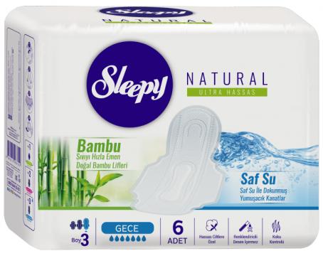 Sleepy Natural Ultra Hassas Hijyenik Ped Gece 6 Adet