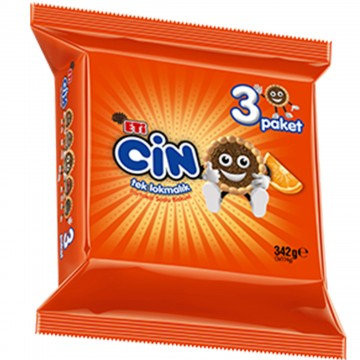 Eti Cin Tek Lokmalık Portakallı  3 Paket 342 gr