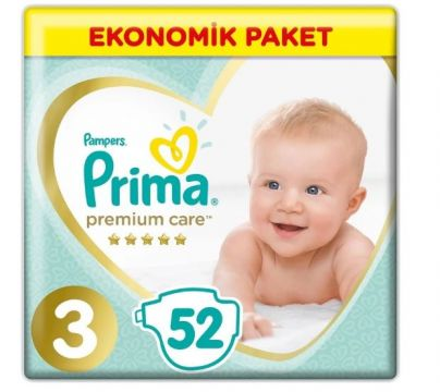 Prima Bebek Bezi Premium Care Jumbo Paket Midi 3 Beden 52 Adet