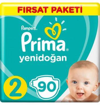 Prima Bebek Bezi Yenidoğan Aktif Bebek Fırsat Paketi 2 Beden 90 Adet