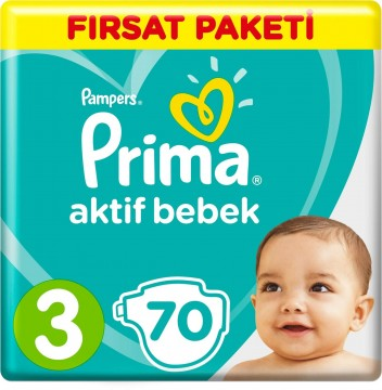 Prima Aktif Bebek Bezi Fırsat Paketi 3 Beden Midi 70 Adet