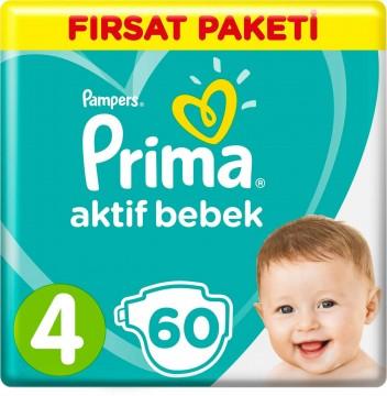Prima Bebek Bezi Aktif Bebek Fırsat Paketi 4 Beden 60 Adet