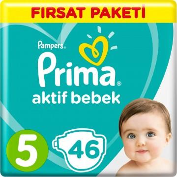 Prima Bebek Bezi Aktif Bebek Fırsat Paketi 5 Beden 46 Adet