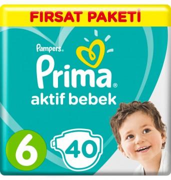 Prima Aktif Bebek Bezi Fırsat Paketi 6 Beden Ekstra Large 40 Adet