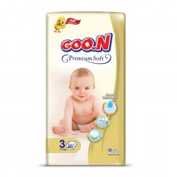 Goon Premium Soft Bebek Bezi 3 Numara 40 Adet