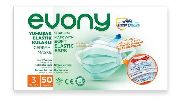Evony Cerrahi Maske Yumuşak Lastikli 50 Adet 3 Katlı