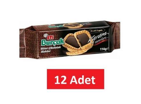 Eti Burçak Bitter Çikolatalı Bisküvi 114 Gr x 12 Adet