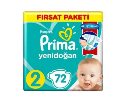 Prima Yenidoğan 2 Beden Fırsat Paketi 72 Adet